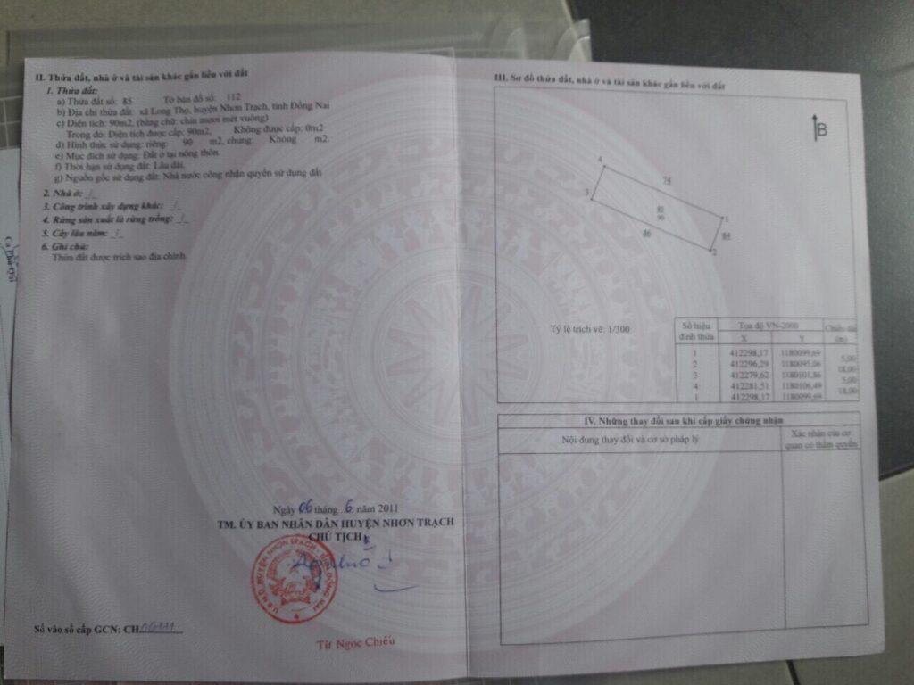 Dự án HUD Nhơn Trạch 100% có sổ hồng